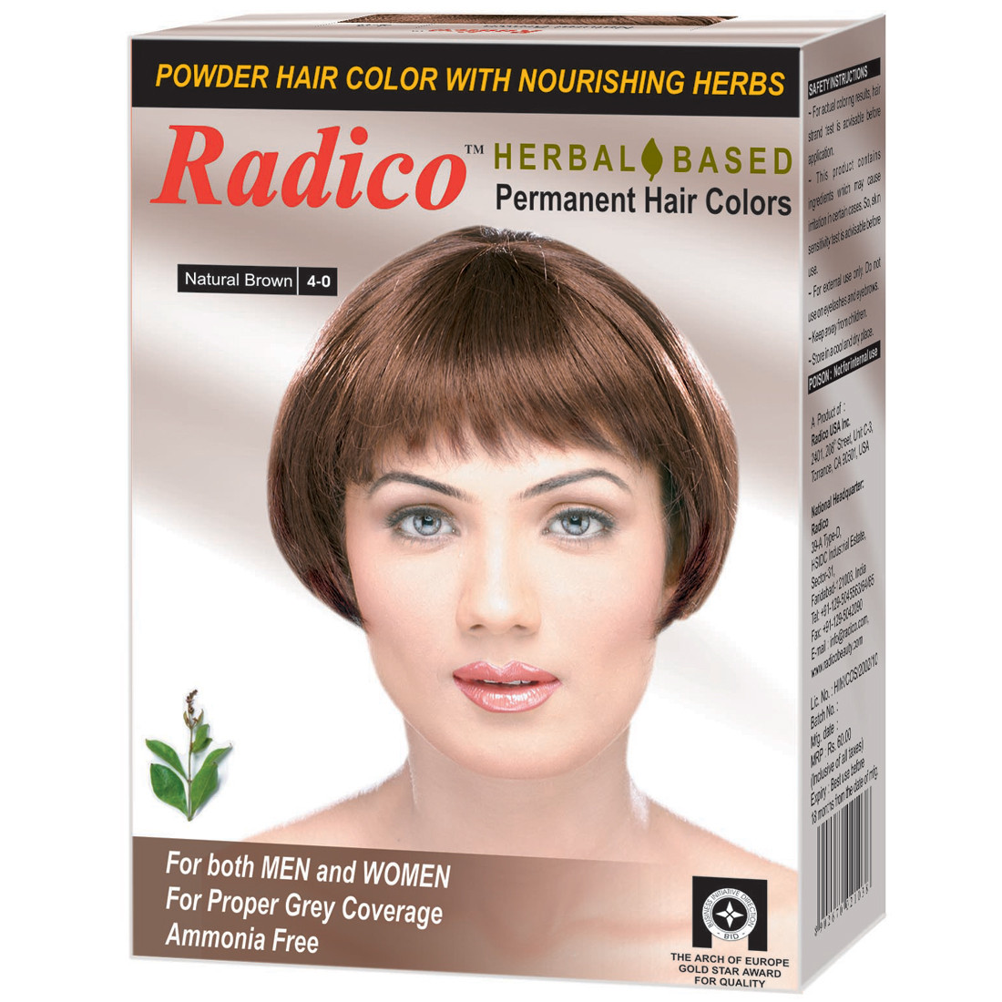 d7abfff41 Radico HERBAL Certified Permanent Hair Color Powder With Nourishing Herbs ( Natural Brown) Sale