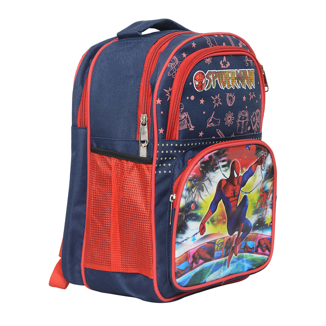 SDC Spider Man Polyester School Bag + Milton Water Bottle + Pencil ... ec558a6fe51e6